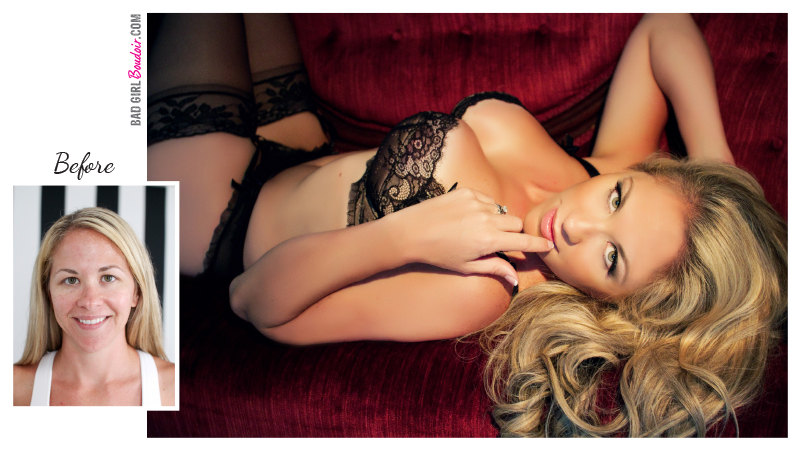Blonde Bombshell Boudoir Before and After