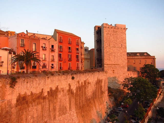 Cagliari's Castello Neighborhood at Sunset