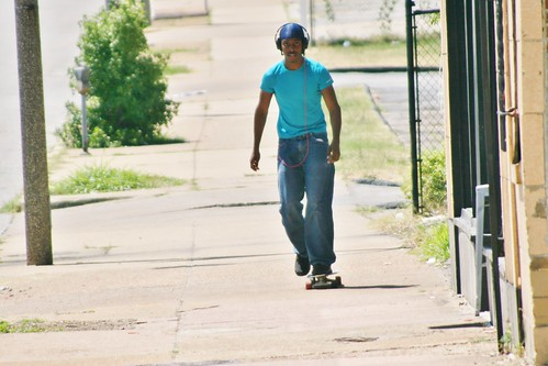 Blue Skateboarder on Delmar