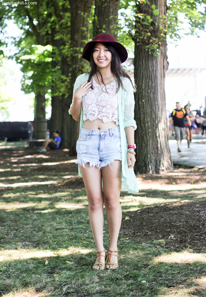 lace crochet crop top, denim shorts, long cardigan outfit