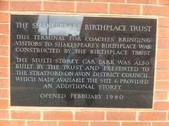 Photo of Shakespeare's Birthplace Coach Terminal  black plaque