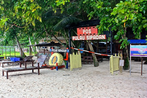 beach chairs and machine guns--only on Sipadan.