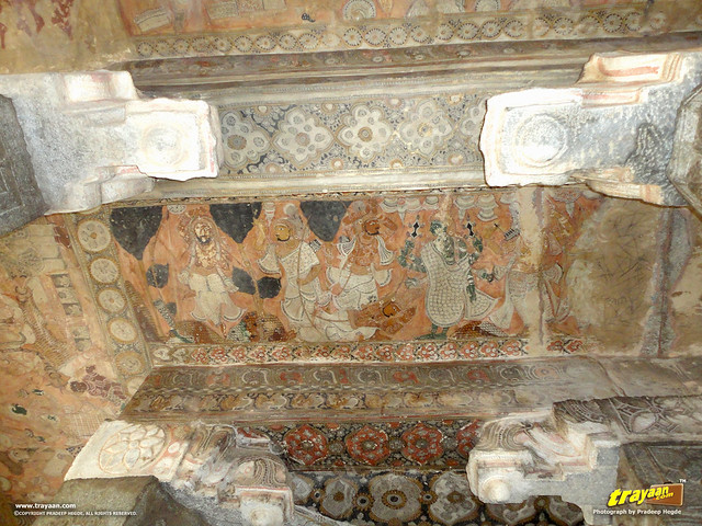 Mural Paintings on the ceiling of the 100 pillared Ranga Mandapa or Dance Hall, inside the Veerabhadra Swamy Temple at Lepakshi, in Andhra Pradesh, India