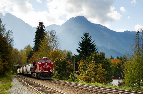railroad mountains train day autum cloudy canadianpacific cp railroadtracks hopebc pwfall