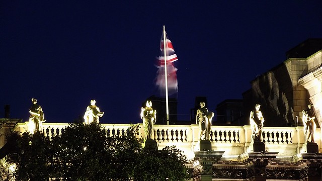 statues and very fluttery fluttering flag