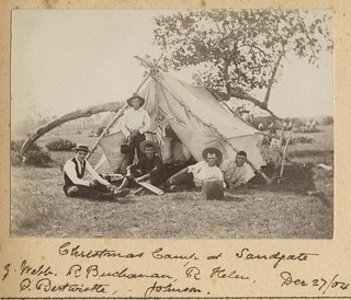 Group of young men camping at Sandgate over Christmas, 1904