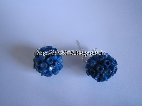 Handmade Jewelry - Paper Quilling Globle Earrings (Dark Blue - V) (2) by fah2305