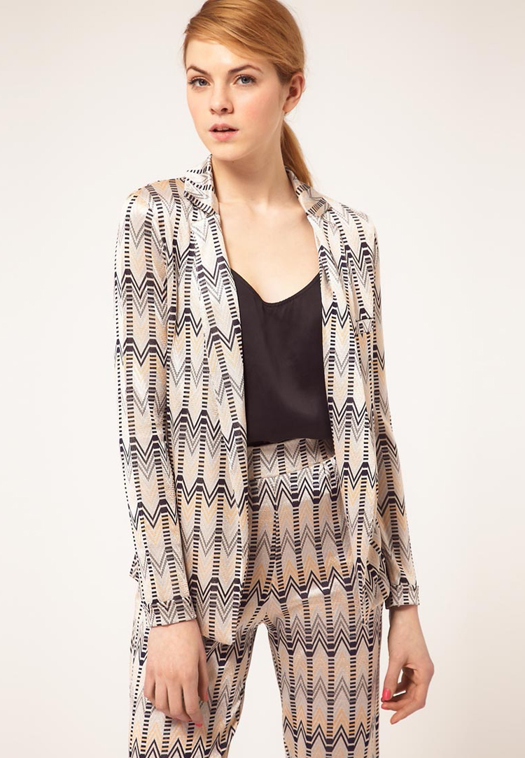 ASOS Throw On Blazer In Chevron Print