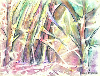 TREES WITH SNOW..SEMI ABSTRACT MIXED MEDIA