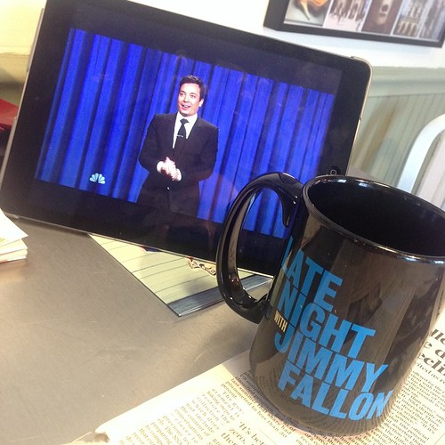 Watching the last episode of @latenightjimmy as it was meant to be seen, on the NBC app, on an iPad, at 11:43 AM. Congrats @jimmyfallon by stevegarfield