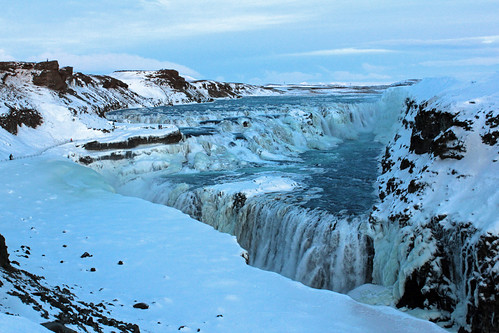blue winter sky people snow ice clouds river waterfall iceland stream spray gorge cascade gullfoss ísland hvitá