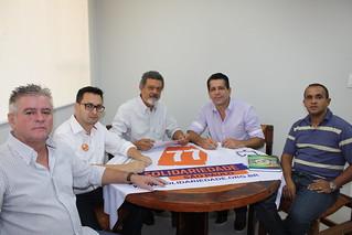 Cláudio Prado, presidente municipal do Solidariedade-SP, em reunião com a diretoria estadual