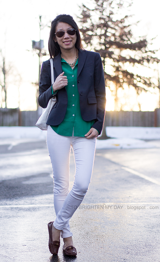 navy blazer, green silk shirt, white jeans, brown loafers