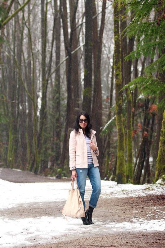Zara blush pink hooded coat, H&M striped top, Gap 1969 Sexy Boyfriend jeans, BCBGirls boots, Prada Minimal Baroque sunglasses, HRH Collection Oh So Couture bracelet and Metallic Coco bracelet, David Yurman ring, fashion, style, Vancouver fashion blog, winter style