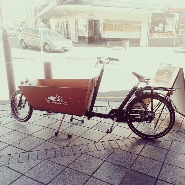 #bikesoflaunceston #cutebike Stephen Fleming's Dutch Cargo Bike