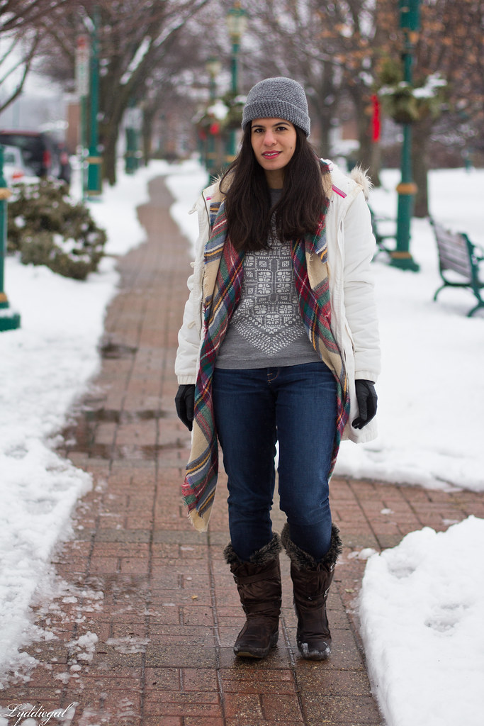 scarf print sweater, white parka, plaid scarf.jpg