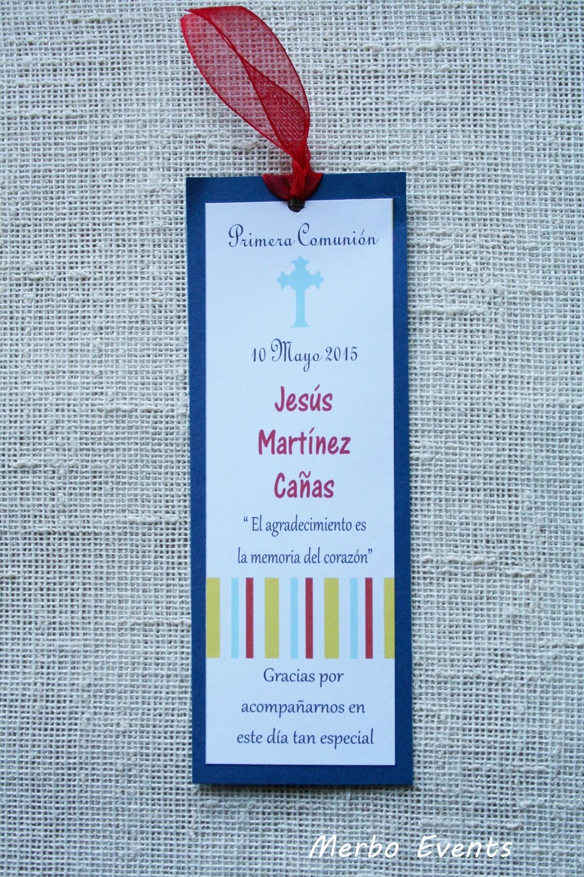 Conjunto invitaciones comunión  y punto de libro niño Modelo Italy Merbo Events