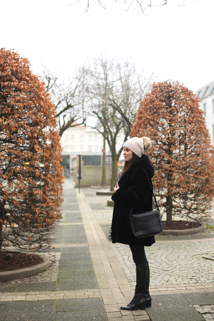 outfit: vintage fur coat, and other stories handbag, over the knee boots