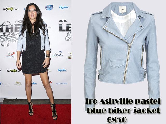 Iro-Ashville-pastel-blue-biker-jacket,Pale blue biker jacket, pastel blue biker jacket, powder blue biker jacket, how to style a pastel biker jacket, biker jacket with a dress, embellished dress, how to style a biker jacket, leather biker jacket, pastel blue leather jacket