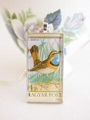 Vintage Hungarian Bird postage stamp pendant