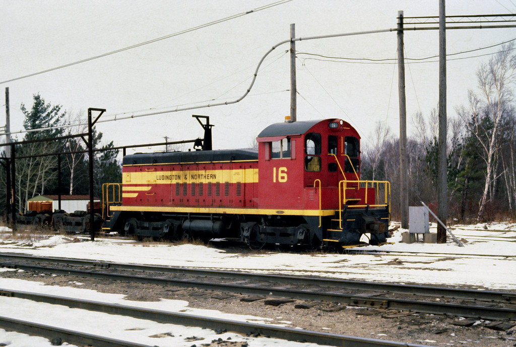 Ludington & Northern No.16 in Ludington 12-20-79. Photo by Neil Plagens.