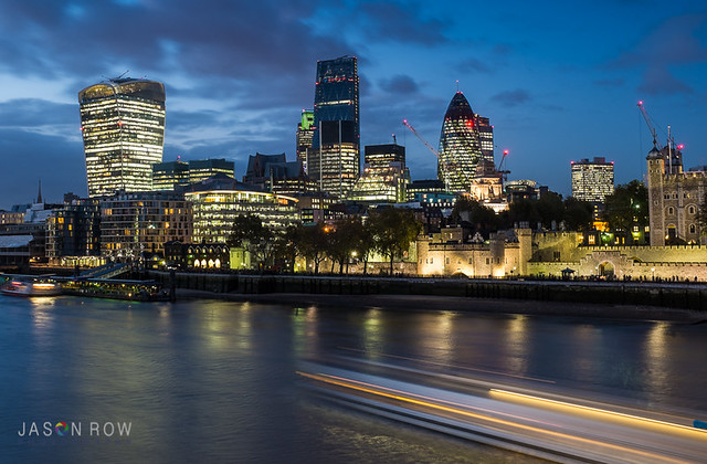 Early Evening view of the City of London from Tower Bridge