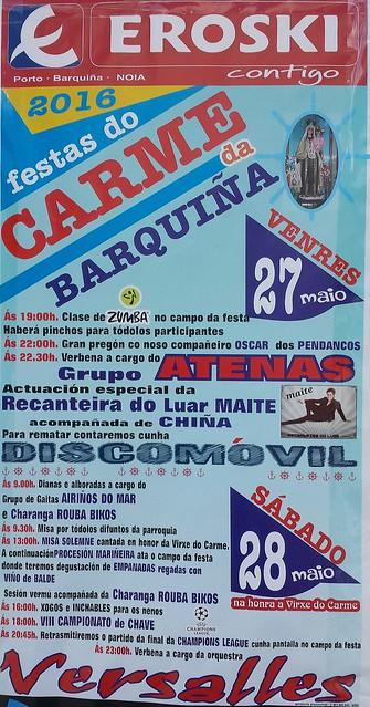 Noia 2016 - Festas do Carme en Porto- A Barquiña - cartel