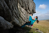 Jessie bouldering at Goldsbrough Carr