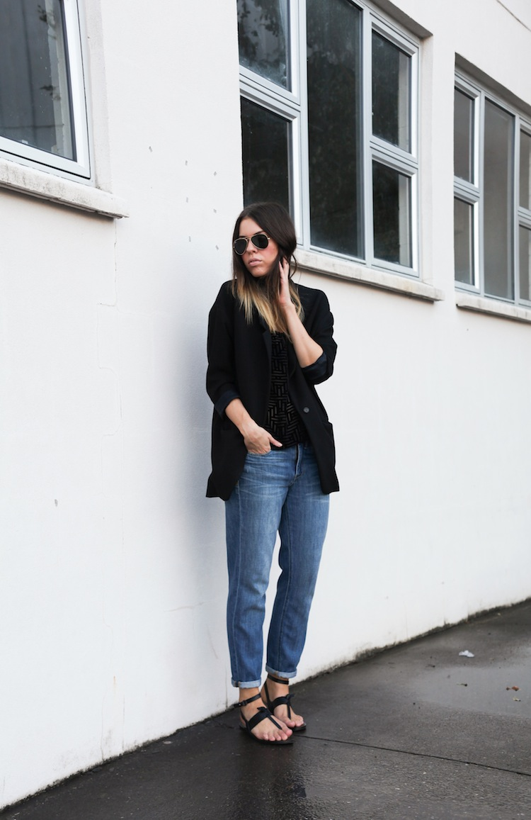 Modern Legacy Fashion Blog Australia Zimmermann silk Madewell boyfriend jeans Zara blazer coat (1 of 1)