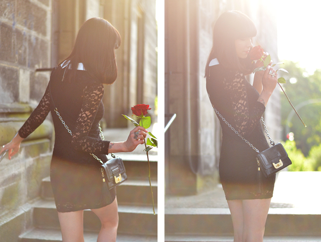 Lace dress and red rose blog 1