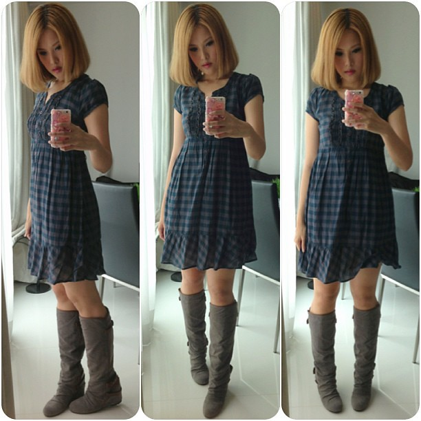 Ootd. @hm babydoll dress #aldo #boots. #fashion #shoeaddict #ootd #lotd #lookoftheday #outfitoftheday #clozette #instafashion