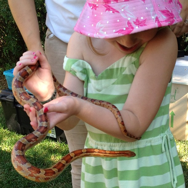 This girl is terrified if rain and bath water, but snakes? No fear.