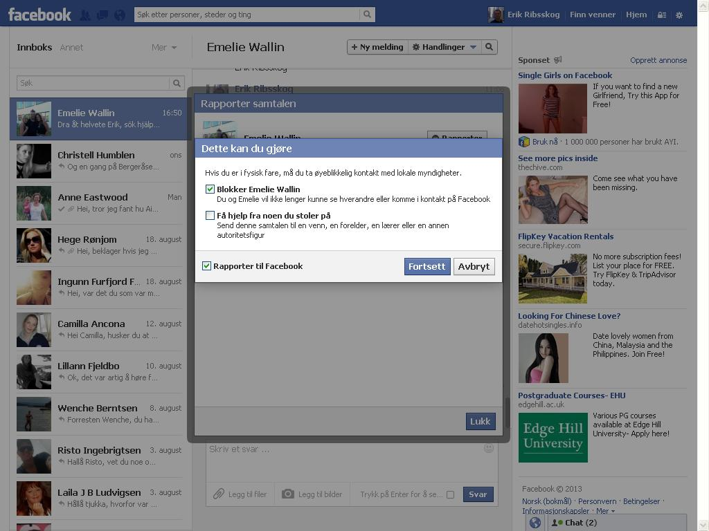 rapporter til facebook