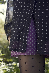 outerwear(0.0), pink(0.0), plaid(0.0), pattern(1.0), textile(1.0), clothing(1.0), purple(1.0), polka dot(1.0), design(1.0),
