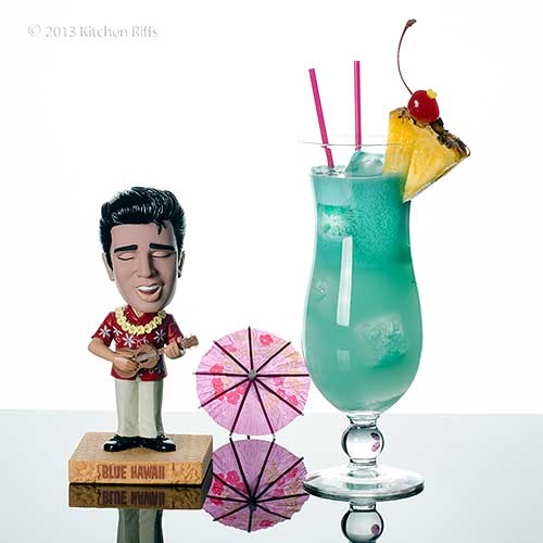 Blue Hawaii Cocktail with Elvis bobblehead