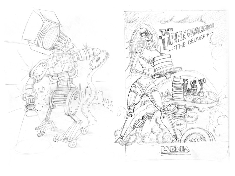 Media film ad concept sketches