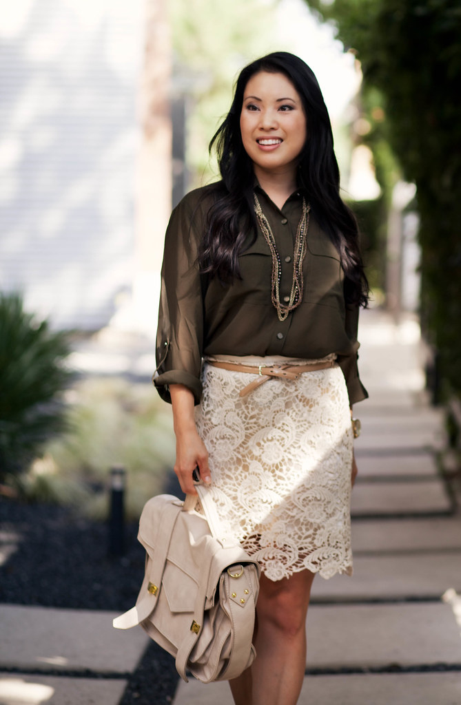 army olive green shirt, lace skirt, outfit #ootd | petite fashion | cute & little