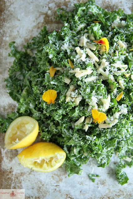 Kale Salad with Lemon, Almond and Pecorino