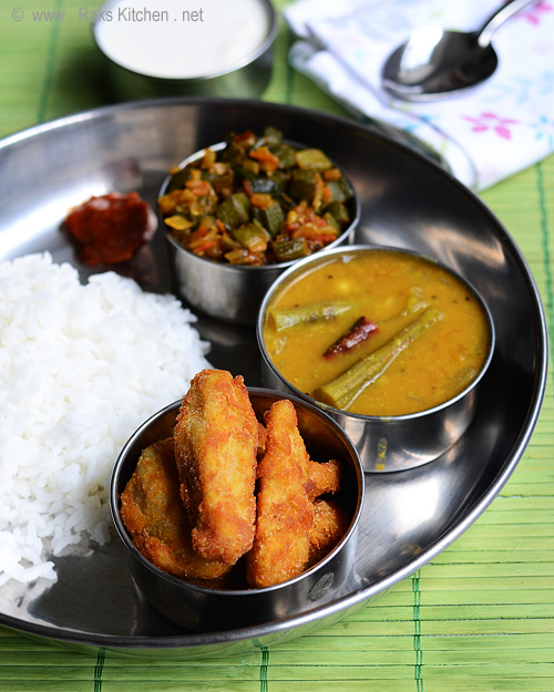 drumstic sambar, ladies finger curry, seppankizhangu fries