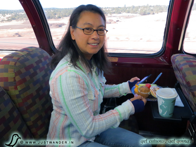 PIC: Observation Dome Seats have little tables to enjoy snacks aboard the Grand Canyon Railway or place your camera on