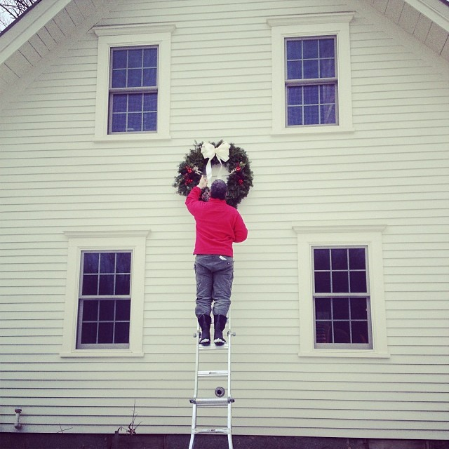 It's always been our tradition to hang greens by Thanksgiving. I adore this part. #maine