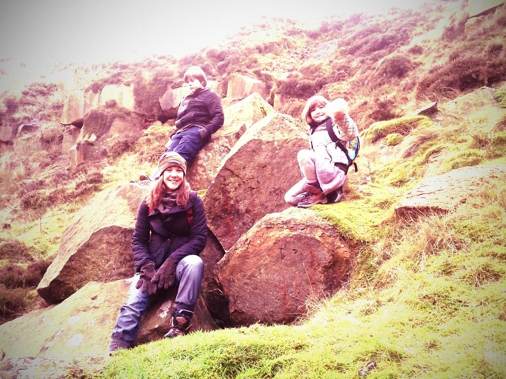 ilkley moor crag in a crater