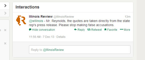 Illinois Review Lies about it