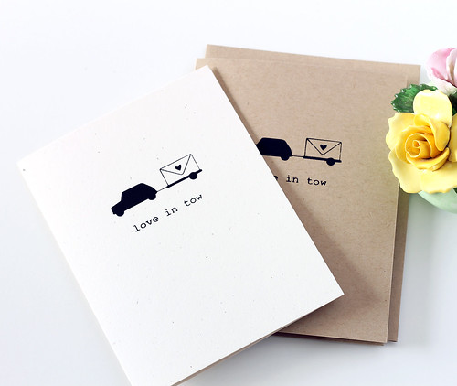 """Love in Tow"" Mini Cooper Valentine's Day Card"