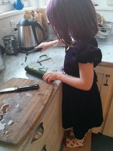 Peeling cucumbers