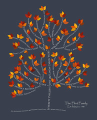 Family tree with names art blue gray white ancestry autumn leaves roots