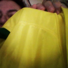 #endomarch2014 Only yellow clothing I could find in the house - son's old Brasil jersey ! :-)