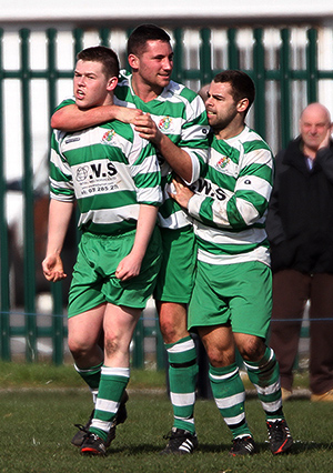 Tom Charters, Paul Byrne & Mark Head celebrate Tom's goal