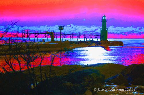 lighthouse abstract wisconsin lighthouses lakemichigan greatlakes maritime nautical algoma algomapierheadlight