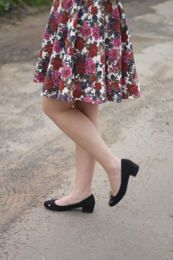 Floral skirt and heels
